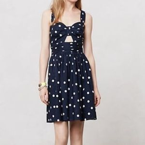 ANTHROPOLOGIE | WHIT two Ava dress blue polka dots